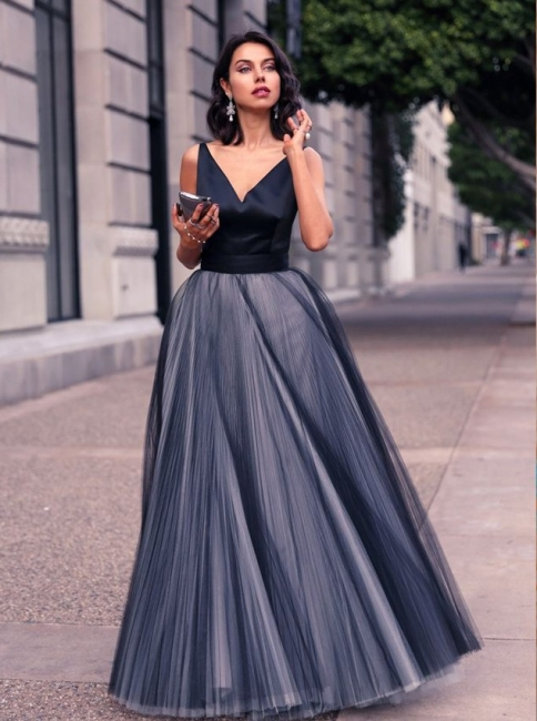 Simple V-Neck Floor Length Prom Dress A-Line Tulle Bowknot Formal Occasion Dresses