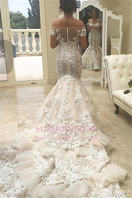 Mermaid Appliques Buttons Tulle Off-the-Shoulder Tiered Elegant 2016 Wedding Dress BA4118