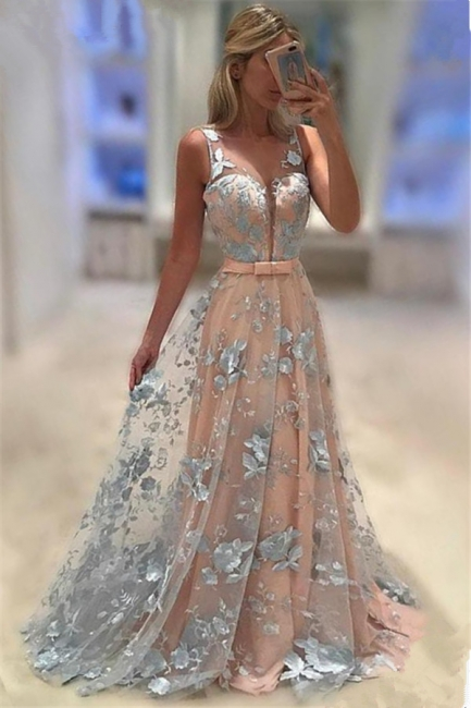 Sleeveless Appliques  Prom Dresses Baby Pink Blue Flowers Illusion Formal Evening Dress