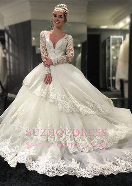 Delicate Lace Appliques Long Sleeve Wedding Dresses  Tiered Ball Gown Bridal Dress