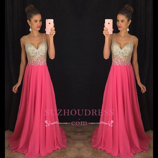 V-Neck Glamorous Chiffon Sleeveless A-Line Crystal Sexy Prom Dress  GA073