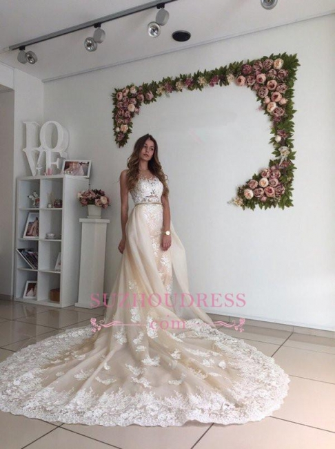 Gorgeous Lace Detachable Bride Dress  Cathedral Train Mermaid Tulle Champagne Wedding Dresses