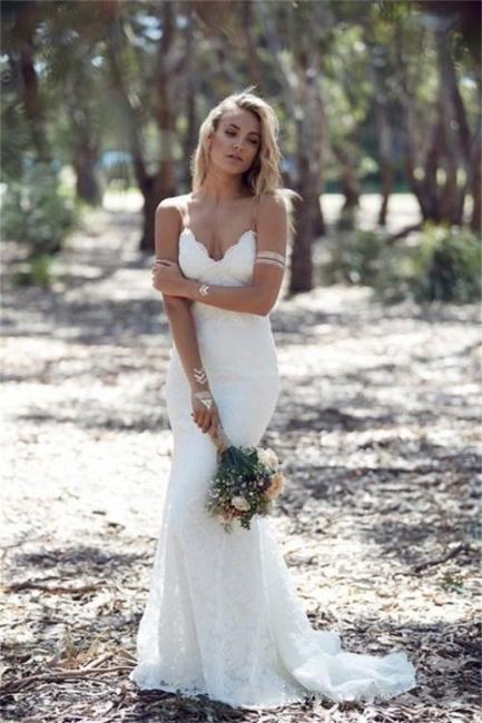 Summer Bohemian Wedding Dresses Straps Backless Mermaid Lace Bride Dress WE0052