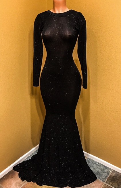 Open Back Black Long Sleeve Prom Dress  | Sequins Sheath Evening Dress with Long Train