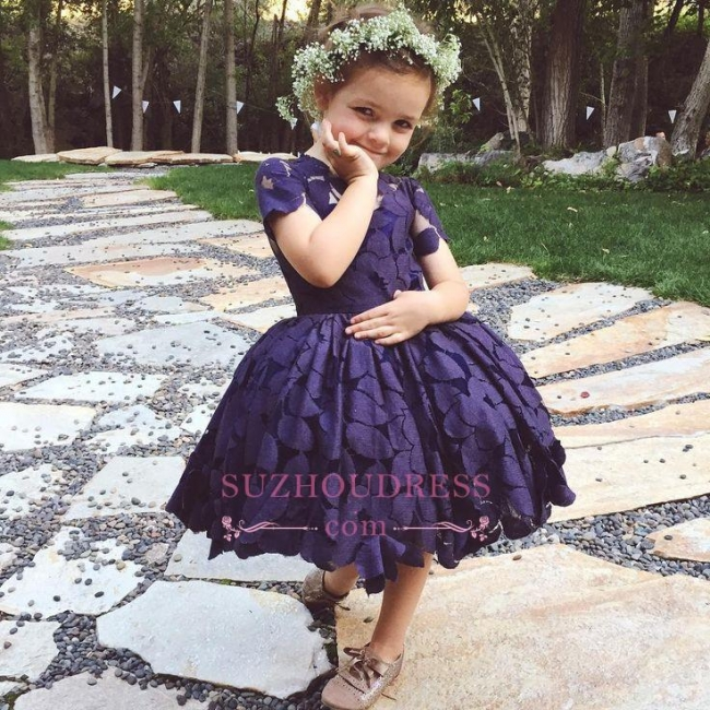 Newest Lace Jewel Short Sleeve Knee Length  Lovely Flower Girl Dress