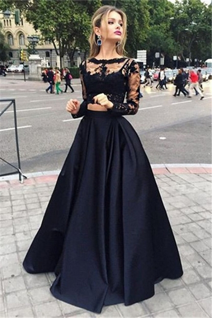 Black Lace Two Piece  Prom Dresses Long Sleeve Evening Gown CE049