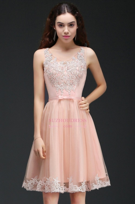Short Sleeveless Tulle Bowknot Elegant Lace Homecoming Dress