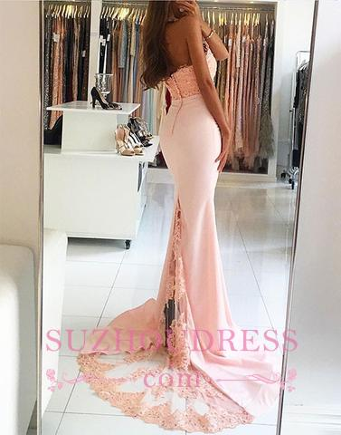 Pink Halter Open Back Prom Dresses Backless Mermaid Sexy Evening Dress  BA5453