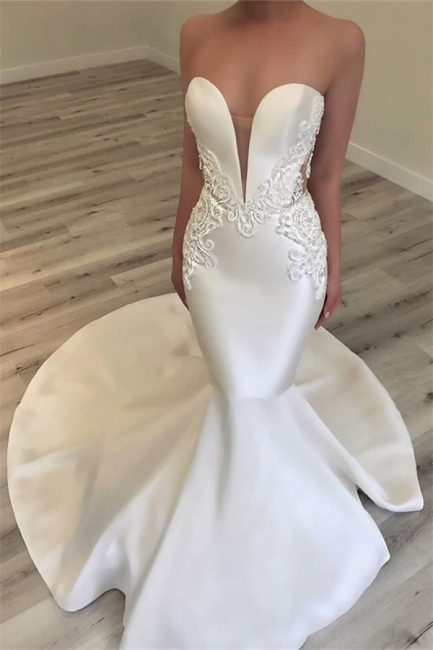 Glamorous Mermaid Open Back Wedding Dresses Strapless Appliques Bridal Gowns Online