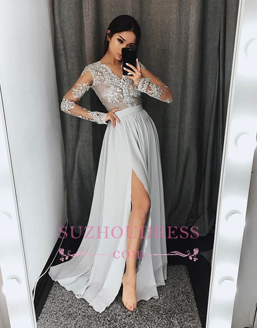 Gray Split-front Lace Long-sleeve A-line Stylish Evening Dress