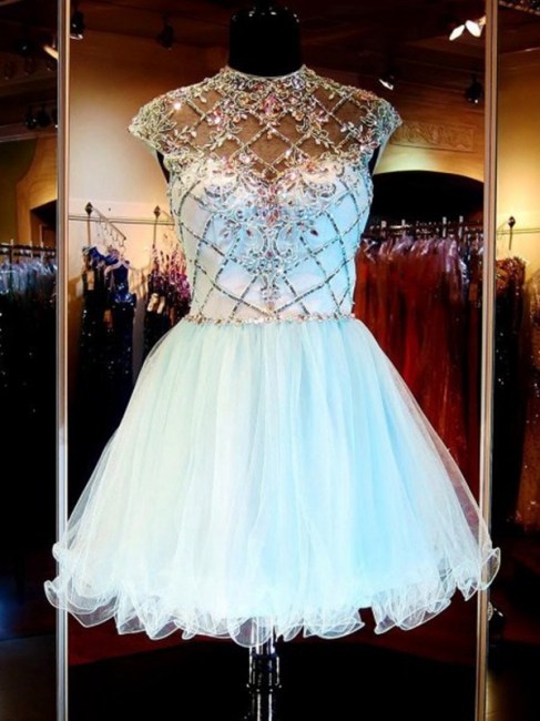 A-Line Short Beading Homecoming Dresses Tulle Open Back  Cocktail Gowns