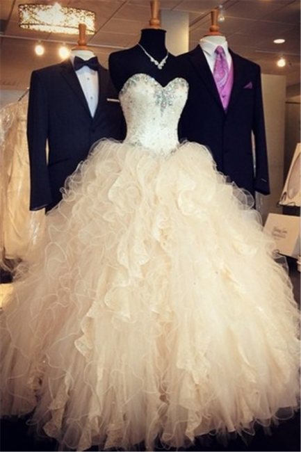 Sweetheart Crystal Attractive Wedding Dresses Floor Length Tiered Glorious  Bridal Gowns
