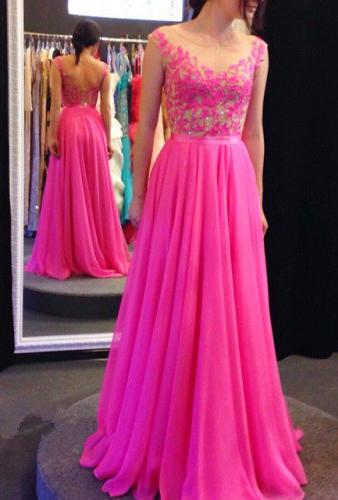Sheer Back Bright Fuchsia Prom Dresses Chiffon  Appliques Elegant Sleeveless Junior Prom Dress