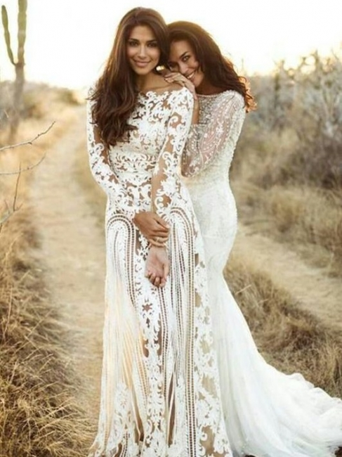 Affordable Column Bateau Lace Wedding Dresses Long-Sleeves Open Back Bridal Gowns On Sale