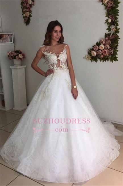 Lace A-Line Tulle Appliques  Bride Dress Beach Court-Train White Wedding Dresses