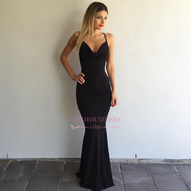 Sleeveless Spaghetti-Strap  Formal Ball Dress Sexy Cross-Back Mermaid Black Prom Dress