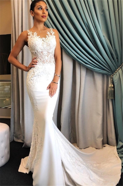 Tempting Appliques Lace Wedding Dresses Sleeveless Mermaid Bridal Gowns On Sale