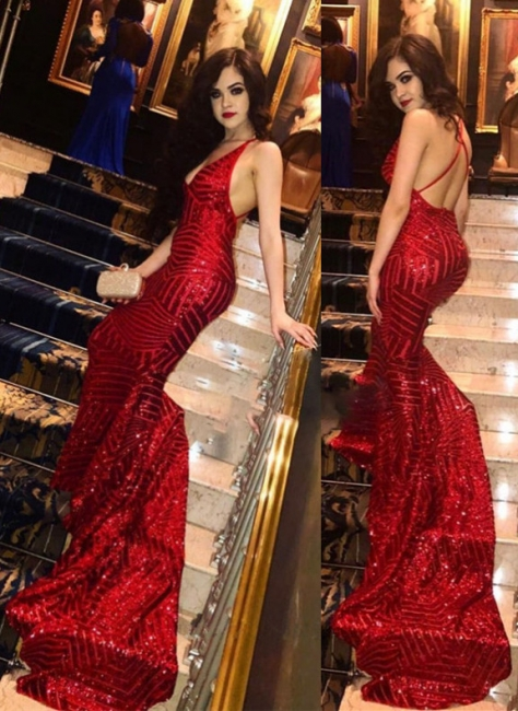 Sexy Sequined Red V-Neck Prom Dresses | Backless Mermaid Evening Dresses
