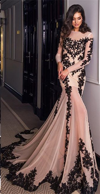 Long Sleeve Black Lace Applique Evening Dresses Sexy Mermaid Tulle Formal Dress