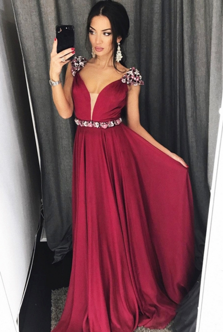 Cap Sleeves Crystals Burgundy Evening Dresses  Chiffon V-neck Sexy Prom Dress with Belt