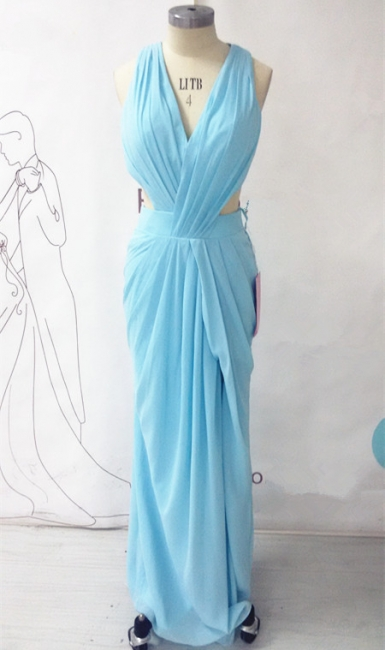 Chiffon Long Ruffle V-neck Blue Evening Dress Sexy Chiffon  Open Back Summer Beach Prom Dress