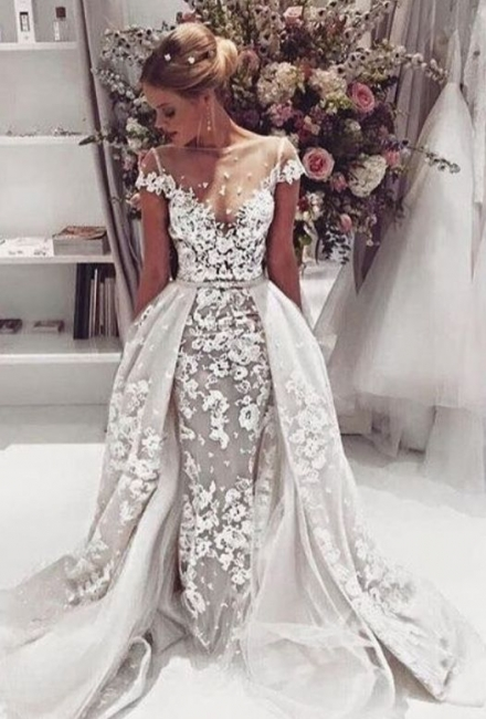 Popular  Overskirt Open Back Bride Dress Sleeves Illusion Lace Appliques Wedding Dress