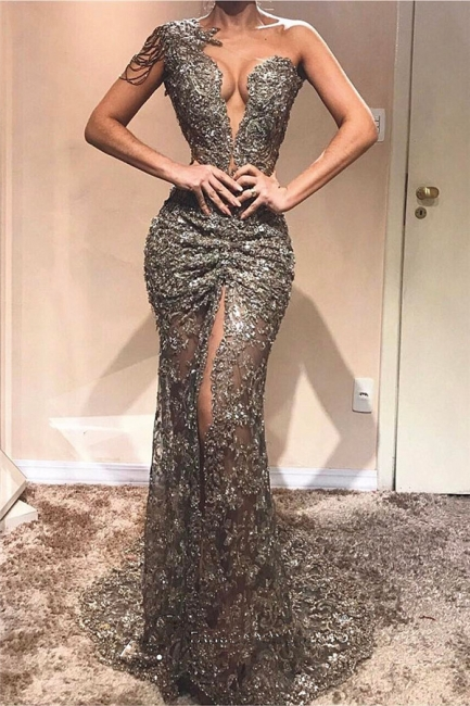 Sexy One Shoulder Front Slit  Prom Dresses   See Through Beads Appliques  Evening Gowns