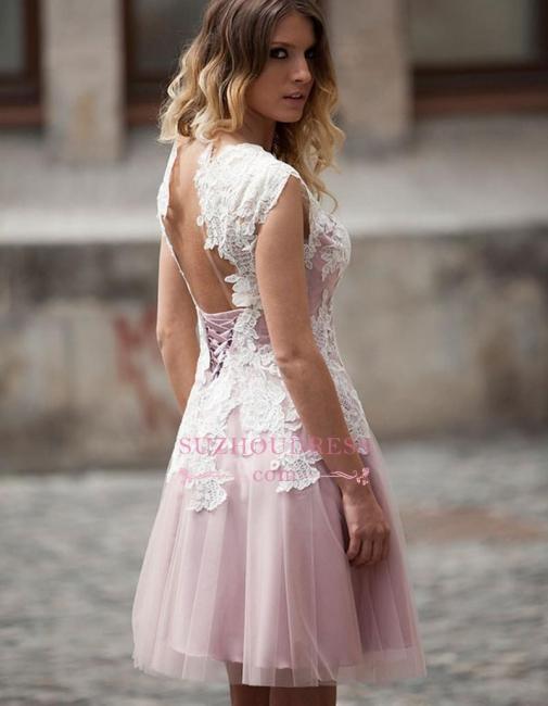 Sleeveless Tulle A-Line Elegant Appliques Short Homecoming Dresses
