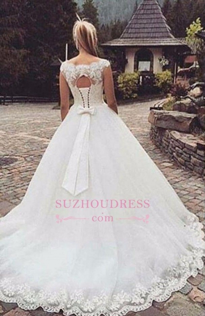 Lace Appliques Cap Sleeves Sleeveless Wedding Dresses  Lace Up Bowknot Bridal Gowns BA3624