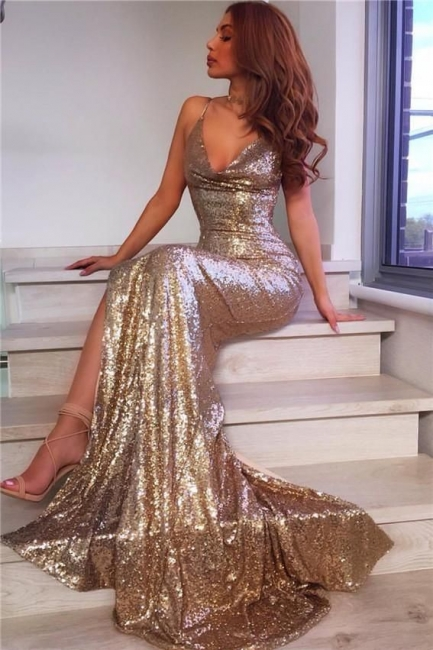 Spaghetti Straps V-neck Champagne Gold Sequins Formal Evening Dress  Sexy Prom Dress  BA7769