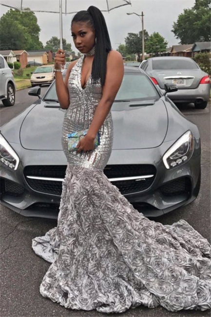 Silver Sequins V-neck Sexy Prom Dress | Rose Bottom Sleeveless  Evening Gown FB0291