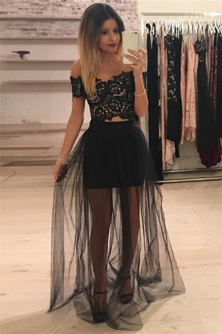 Off The Shoulder Two Piece Lace Formal Dress   Sheer Tulle  Ball Dress