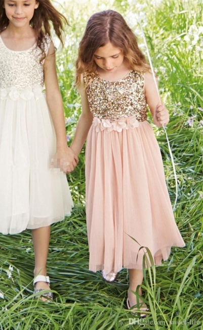 Lovely  Blush Flower Girl Dresses Sequins Bowknot  Girls Pageant Dress