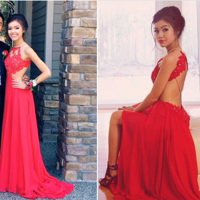 Red A-Line Halter Chiffon Party Dress Halter Lace Open Back Prom Dresses CE0126