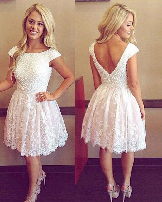 Beading White Short  A-Line Homecoming Dresses Cap Sleeve Zipper Mini Cocktail Gowns