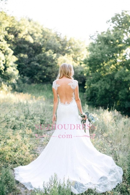 Lace Sheer Mermaid Backless Country Wedding Dresses