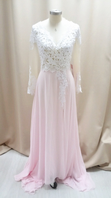 Cute Pink Chiffon Lace Prom Dresses Sheer Long Sleeve  Popular Evening Dresses with Side Slit