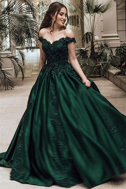 Dark Green Off the Shoulder Appliques Evening Dresses |  Ball Gown Formal Dresses