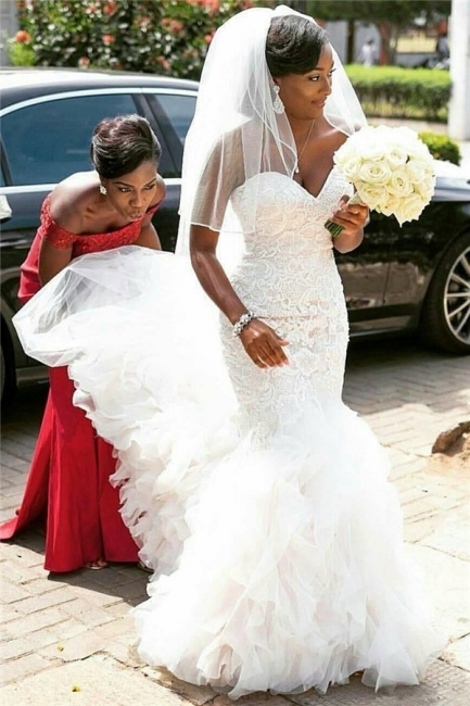 Glamorous Lace Appliques Wedding Dresses Sweetheart Mermaid Tulle Ruffles Bridal Gowns On Sale