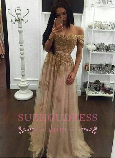 Appliques Long A-line Off-the-Shoulder Evening Dresses  Gold Sexy Prom Gown BA4856