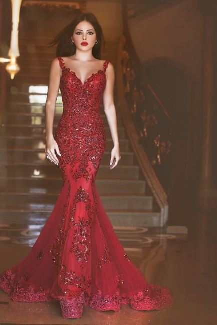Red Sexy Crystal Mermaid Evening Dress Vintage Spaghetti Strap Tulle Long Formal Occasion Dress