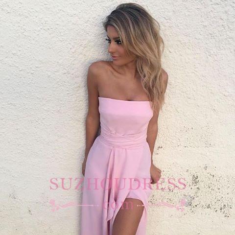 Front Split Pink Formal Dress   Elegant Sleeveless Strapless Chiffon Prom Dress