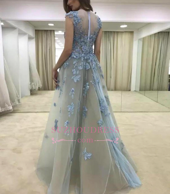 Glamorous Cap-Sleeve Ruffle Appliques Lace Mermaid Evening Dress