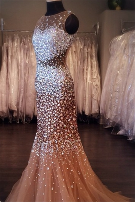 Mermaid Sleeveless Crystal Tulle  Evening Dresses Sexy Stunning Glorious Gowns