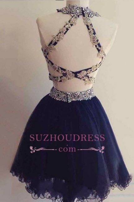 Navy Blue Beaded Short Two-Pieces Homecoming Dresses BA6928