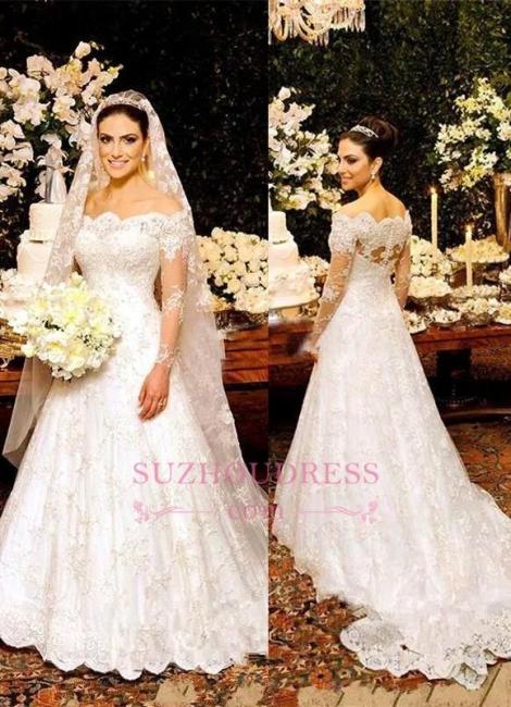 Button Zipper Lace Bride Dress Beautiful Long Sleeve Wedding Dress