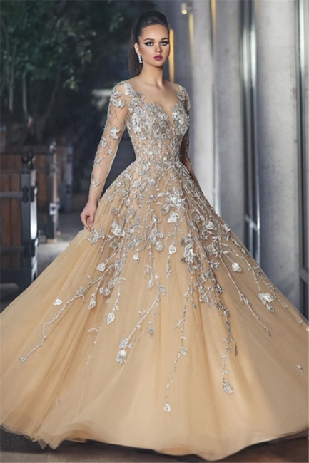 Gorgrous Sheer Long Sleeves Evening Dresses  | A-line Appliques Tulle Prom Dresses