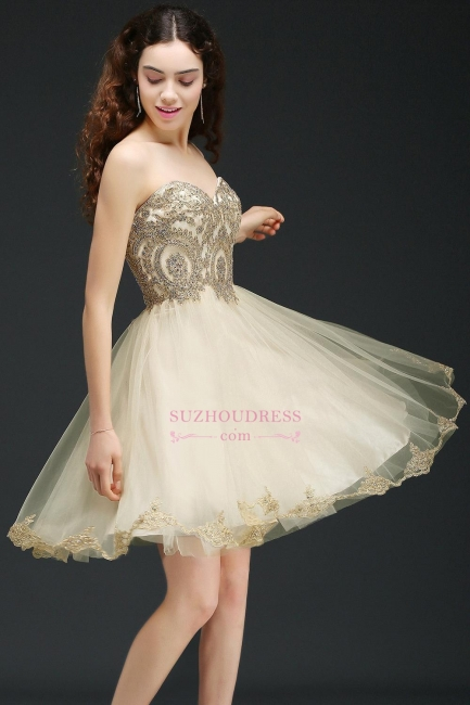 Appliques Lace-Up Short Sweetheart Lovely Homecoming Dress