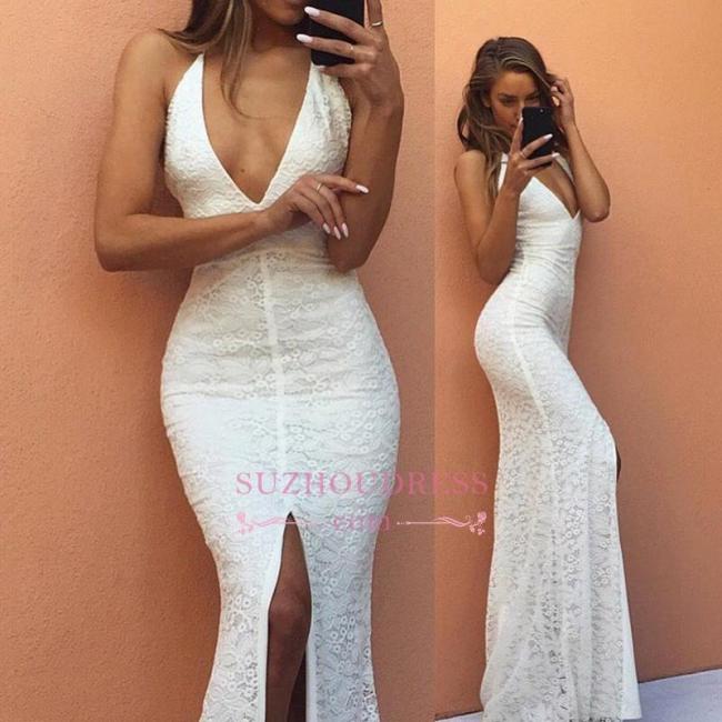 Modest Mermaid Backless Sleeveless V-neck White Lace Front-Split Prom Dress BA7175