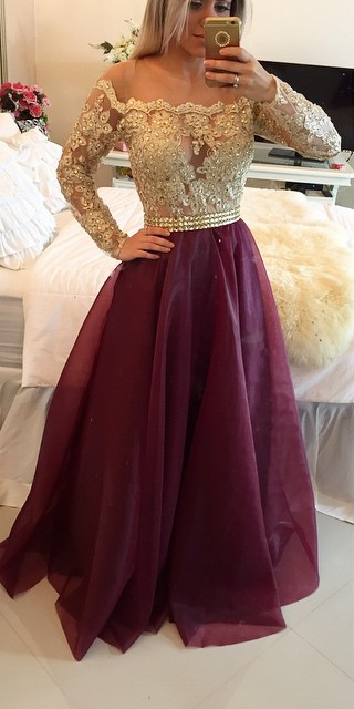 A-Line Long Sleeve Burgundy Prom Dress New Arrival Lace Floor Length Evening Gowns BMT024